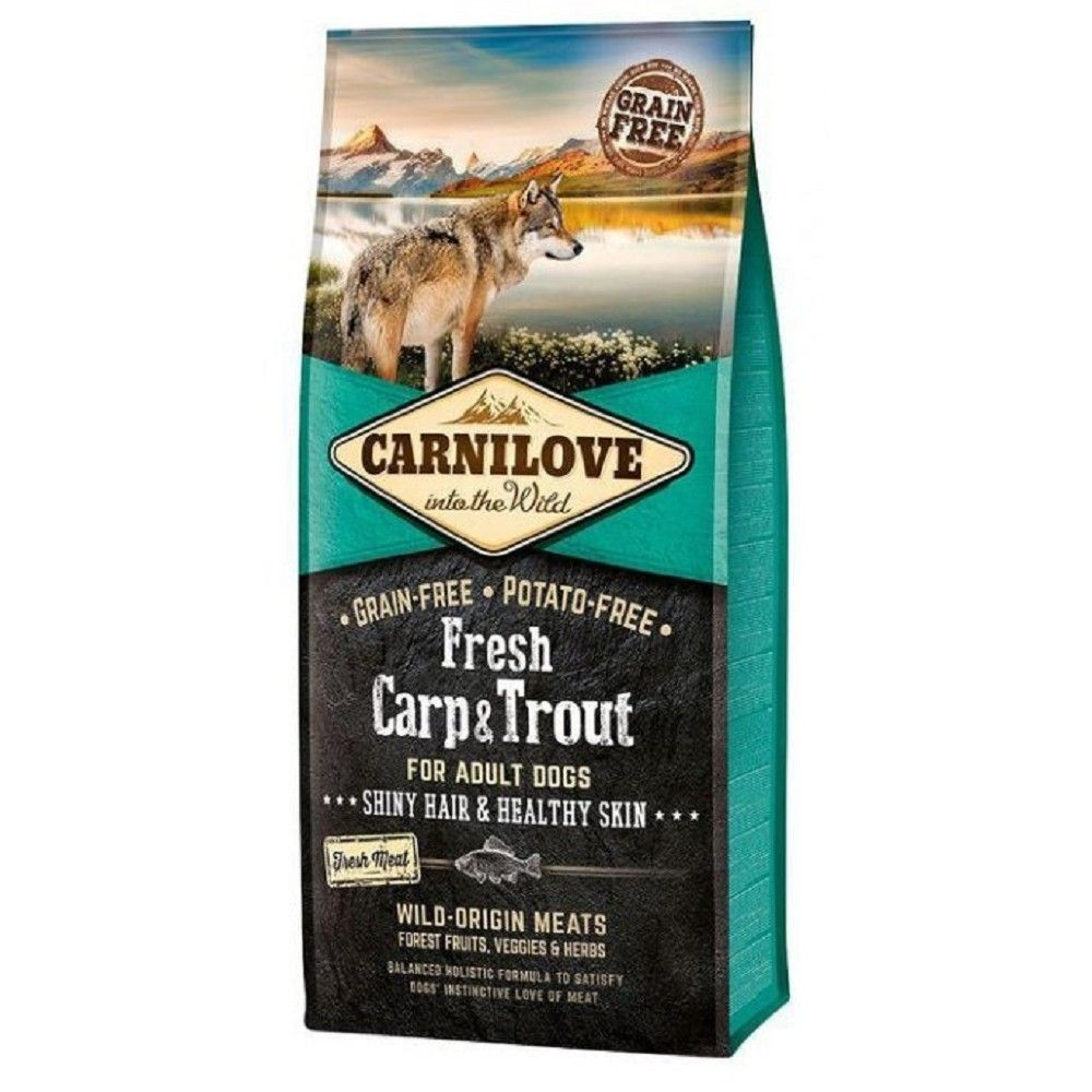 Carnilove 12kg Adult Fresh Carp Trout Shiny Hair+Healthy Skin for
