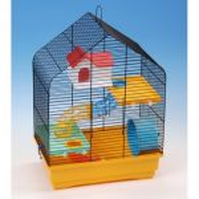 Klec křeček barva stanová střecha s výbavou 40x25,5x54cm