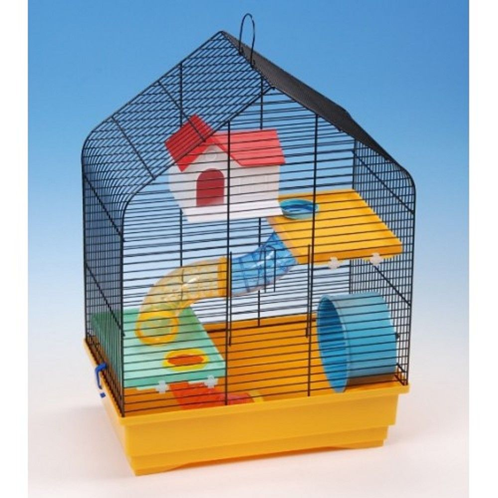 Klec křeček barva stanová střecha s výbavou 40x25,5x54cm Ostatní
