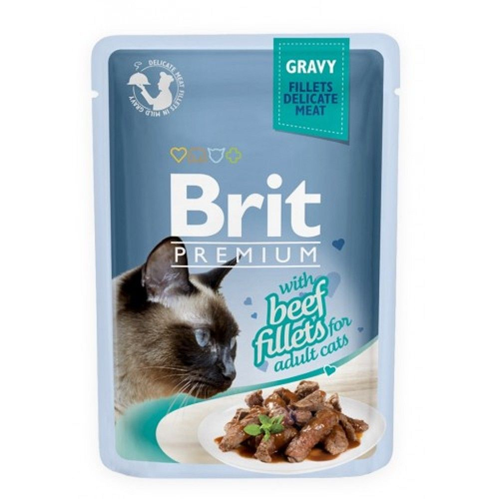 Brit premium 85g cat kaps.filety s hovězím ve šťávě 1ks