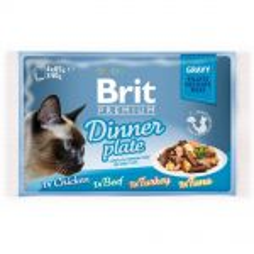 Brit prem.4x85g cat Gravy kaps.filety kuř,kroc,hov,tuň, šťáva