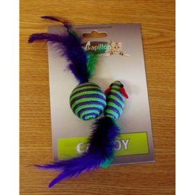 Myška nylonová pruh.5cm+míček 4cm s pérky na kartě