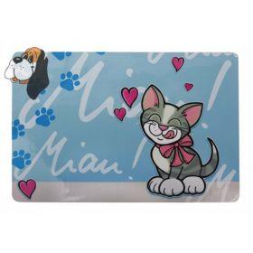 Podložka s obrázkem pro kočky pod misky 28x43cm/plastová