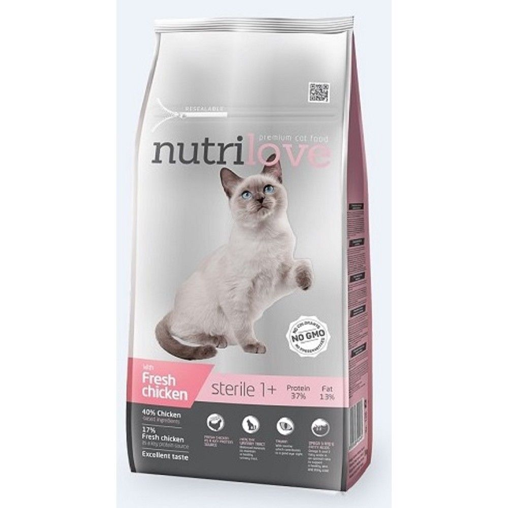 Nutrilove 7+1,4kg Sterile s čerstvým kuřecím cat + 2ks konzerva 400g
