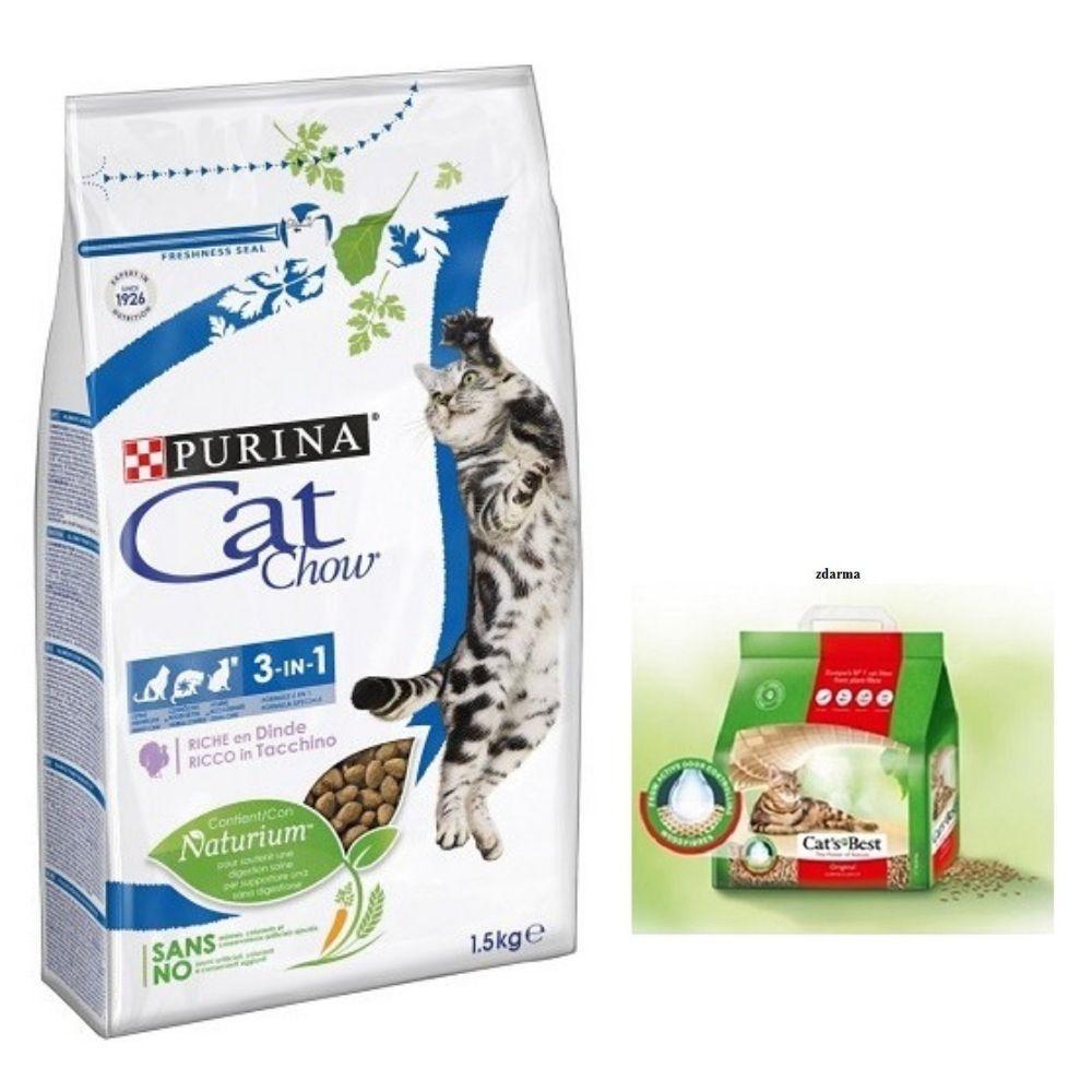 Purina Cat Chow 1,5kg 3v1 + stel.Cats Best orig.5l zdarma