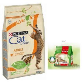 Purina Cat Chow  1,5kg kuře+krůta + stel.Cats Best orig.5l zdarma
