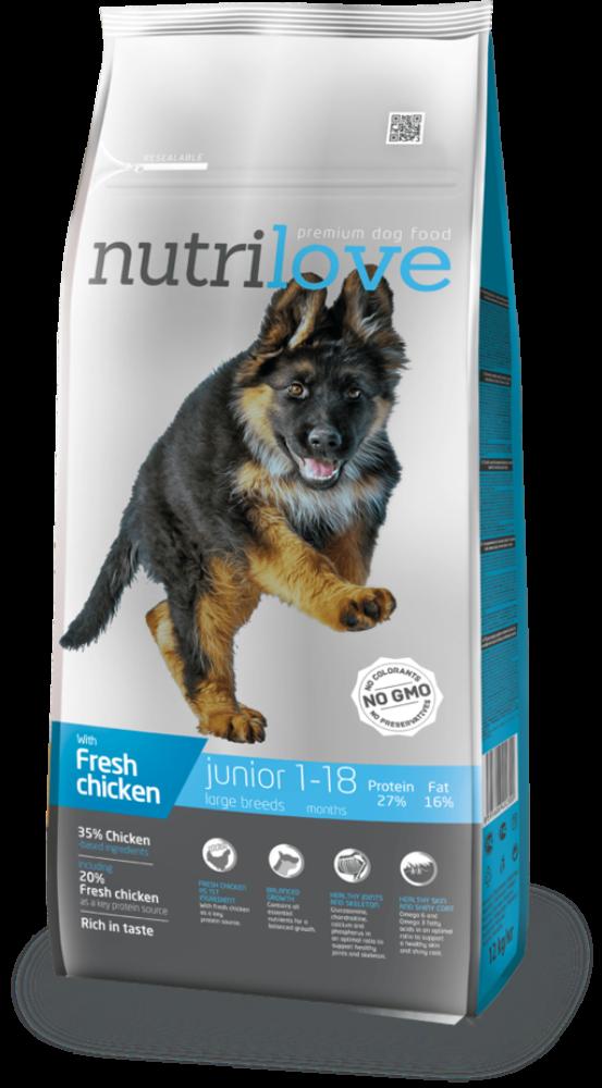 Nutrilove 3 kg Junior L s čerstvým kuřecím