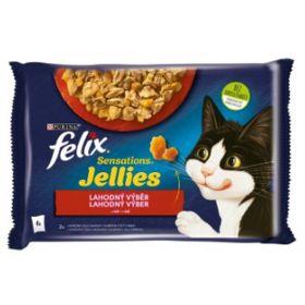 Felix Sensations 85gx4ks kaps. hovězí+kuře v želé