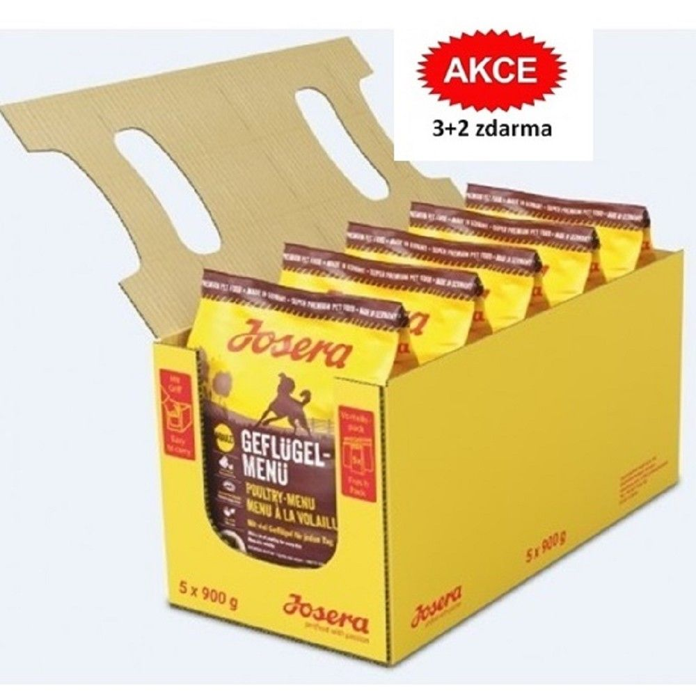 Josera 5x0,9kg Geflügel Menü 3+2 zdarma